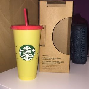 Yellow Starbucks color changing cup